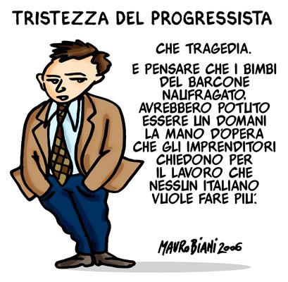 vignetta di Mauro Biani del 2006; da scomunicazione.it